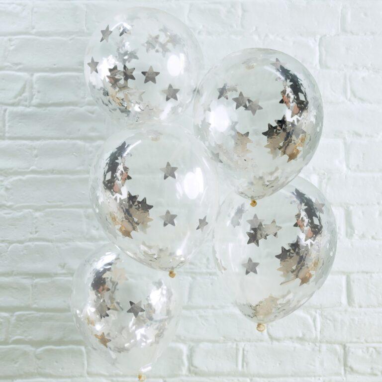 Μπαλόνια Latex με Κονφετί Ασημί Αστέρια – 5 Τεμάχια