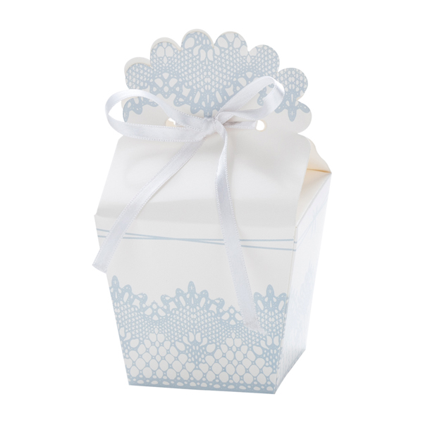 Χάρτινα Κουτάκια Γαλάζιο με Λευκό – 12 Τεμάχια