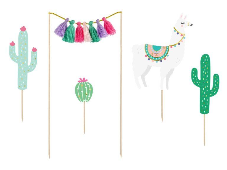 Χάρτινα Διακοσμητικά Τούρτας Llama Cactus – 5 Τεμάχια