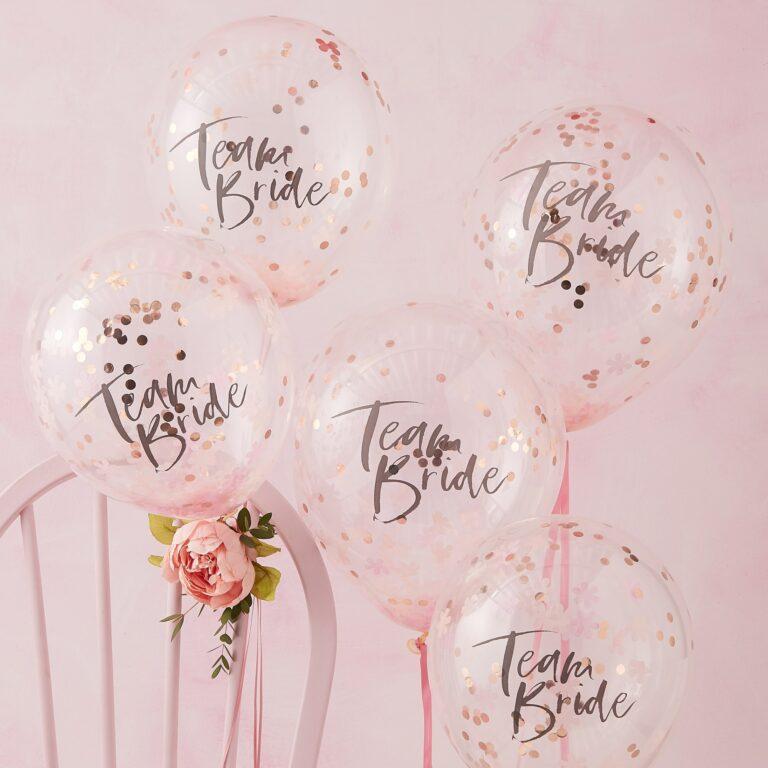 Μπαλόνια Latex Team Bride με Κονφετί – 5 Τεμάχια
