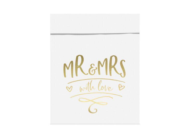 Χάρτινα Σακουλάκια Κερασμάτων Λευκά Mr & Mrs With Love – 6 Τεμάχια