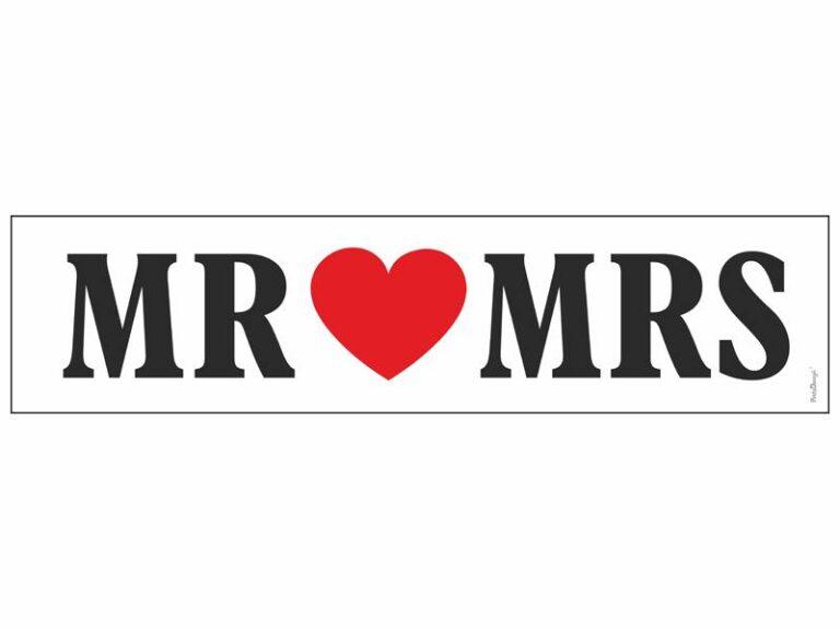 Χάρτινη Πινακίδα MR MRS Λευκή