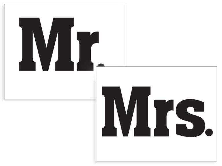 Αυτοκόλλητα Παπουτσιών Mr Mrs – 2 Τεμάχια