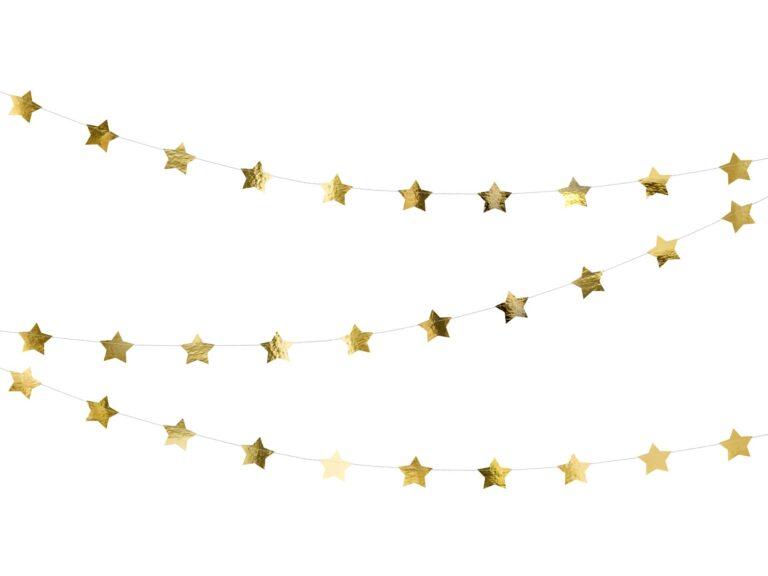 Χάρτινη Foil Γιρλάντα Χρυσά Αστεράκια