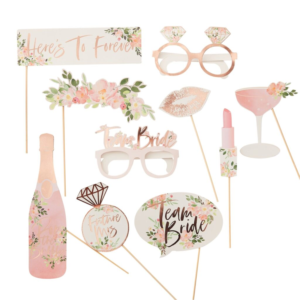 Photo Booth Props Team Bride Floral – 10 Τεμάχια