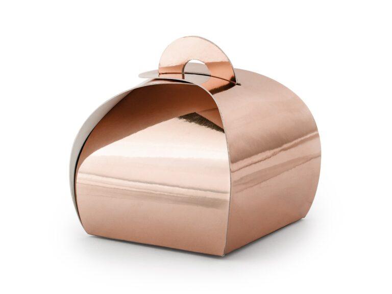 Χάρτινα Κουτάκια Ροζ Χρυσό – 10 Τεμάχια