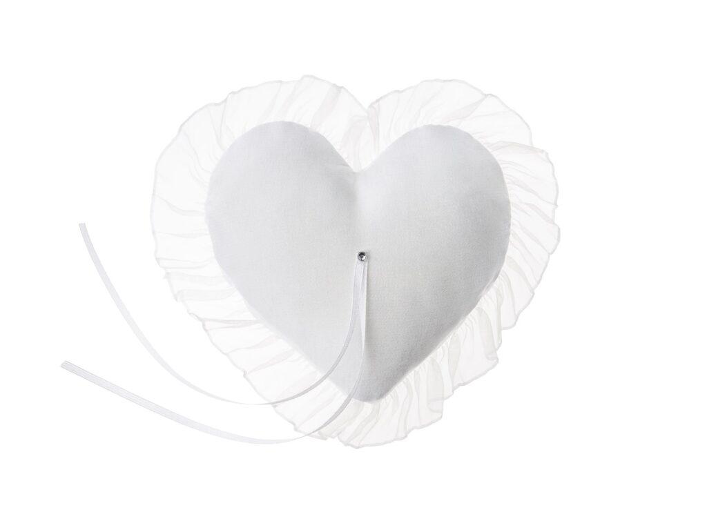 Λευκό Μαξιλαράκι για Βέρες Καρδούλα