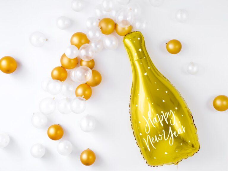 Μπαλόνι Foil Μπουκάλι Σαμπάνιας Happy New Year 82εκ