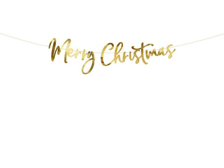 Χάρτινη Χρυσή Γιρλάντα Merry Christmas