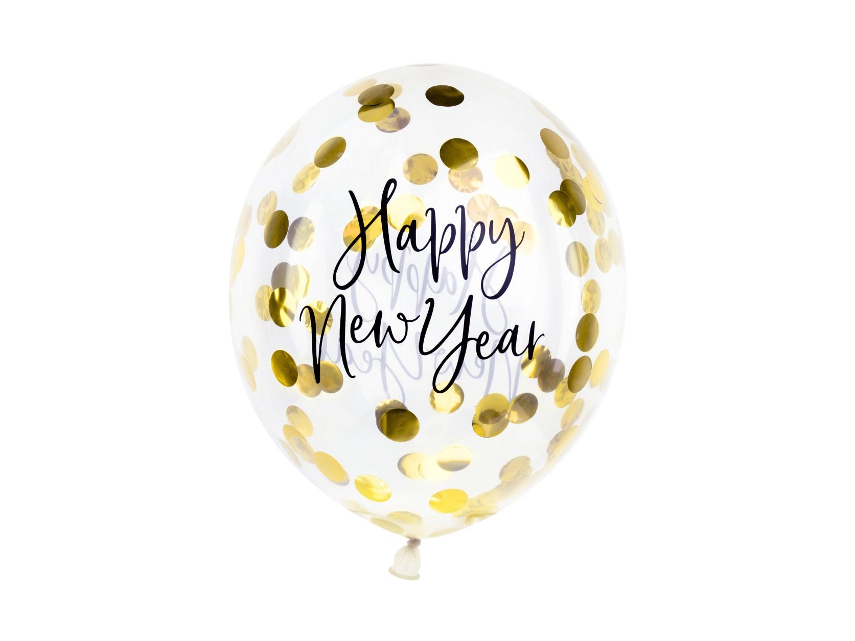 Μπαλόνια Latex Happy New Year με Χρυσά Κονφετί – 3 Τεμάχια