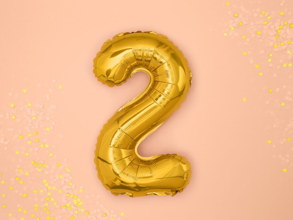 Μπαλόνι Foil Χρυσό Αριθμός Δύο 35εκ