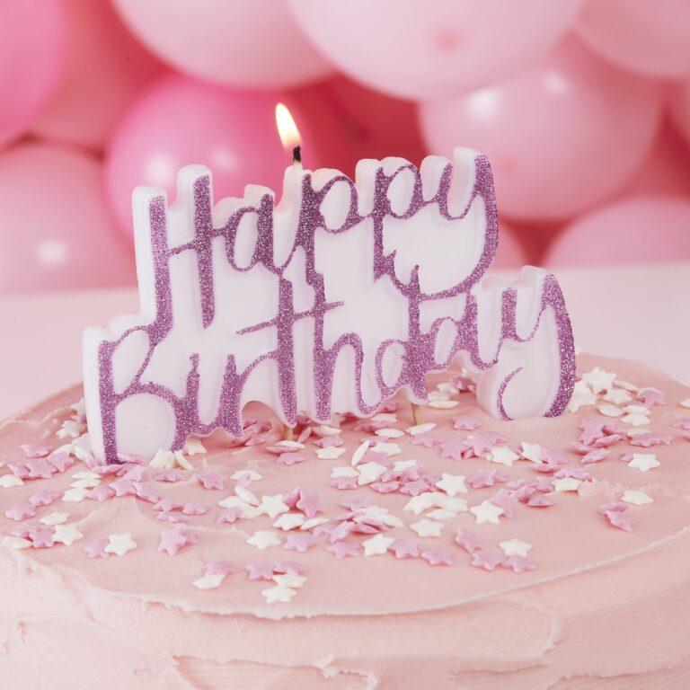 Κεράκι Happy Birthday με Φουξ Γκλίτερ 12×12εκ