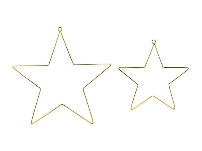 Κρεμαστά Διακοσμητικά Μεταλλικά Αστέρια Χρυσά – 2 Τεμάχια