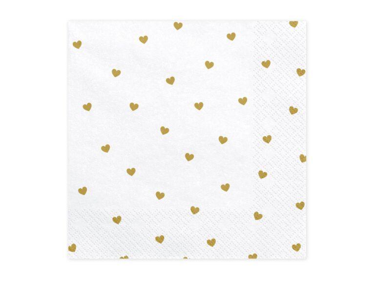 Χαρτοπετσέτες Χρυσές Καρδούλες 33×33εκ – 20 Τεμάχια