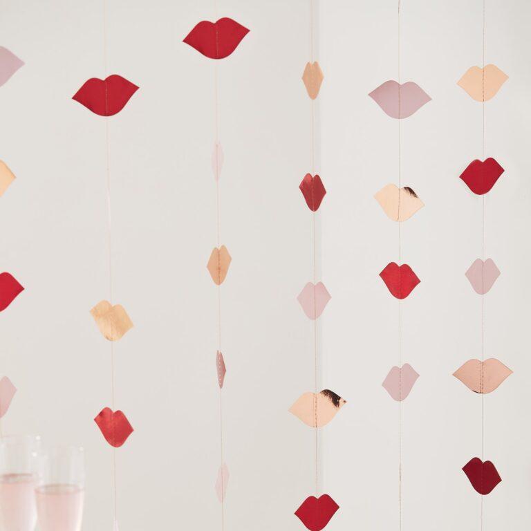 Κρεμαστά Διακοσμητικά Φιλιά Ροζ Χρυσά & Κόκκινα 6 Τεμάχια