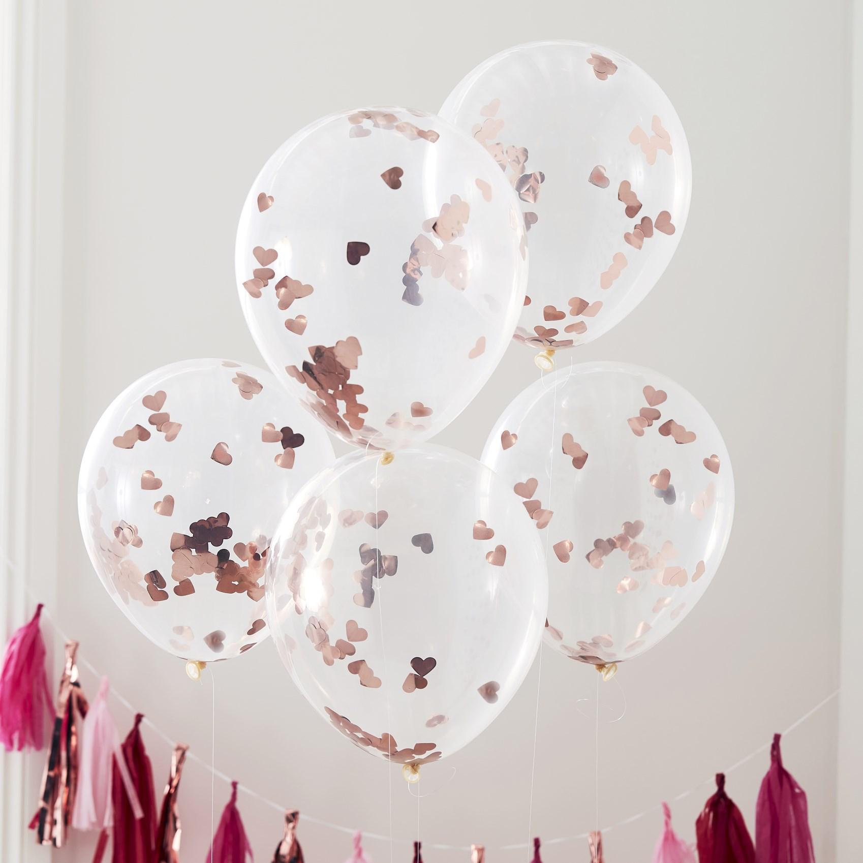 Μπαλόνια Latex με Κονφετί Καρδούλες Ροζ Χρυσό – 5 Τεμάχια