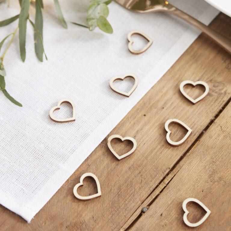 Κονφετί Ξύλινες Καρδιές – 25 Τεμάχια