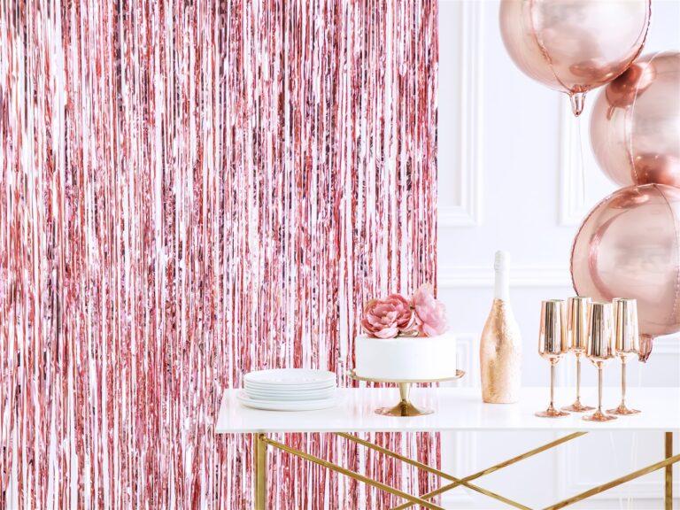 Διακοσμητική Κουρτίνα Ροζ Χρυσή 90×250εκ.