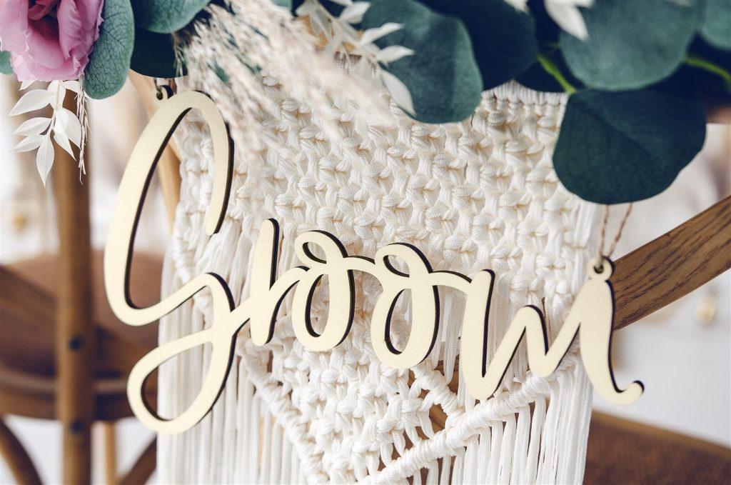Chair Signs Bride & Groom Ξύλινες