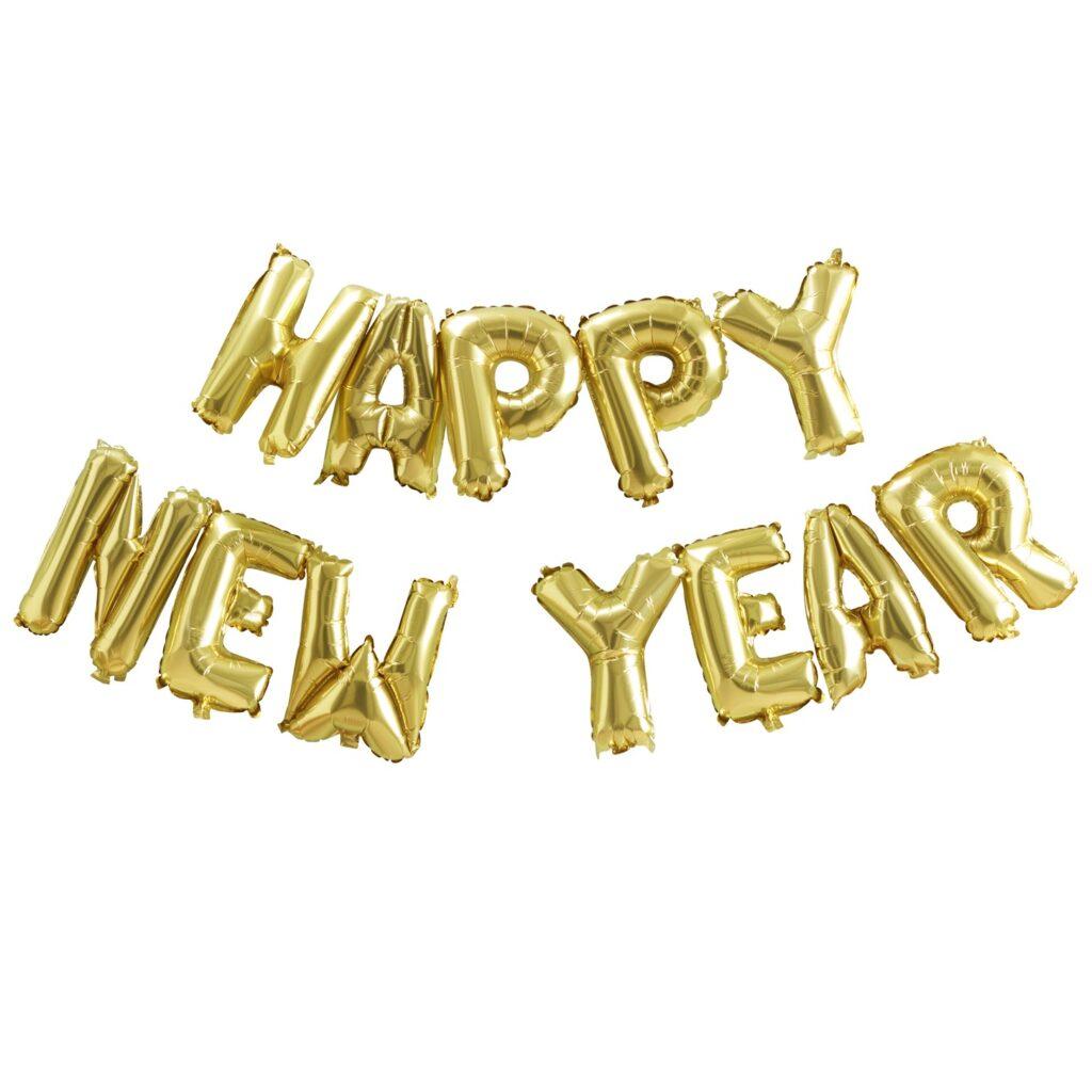 Σετ Μπαλόνια Γράμματα HAPPY NEW YEAR Χρυσά