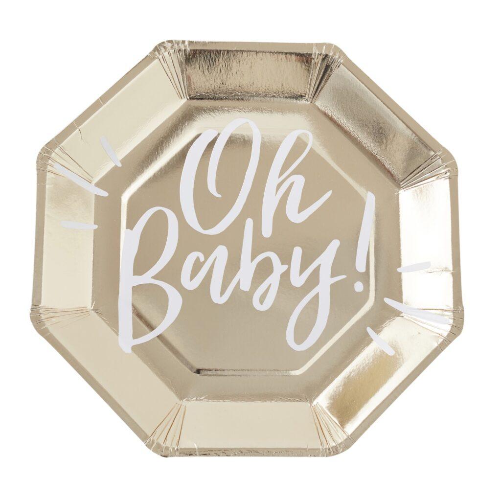 Χάρτινα Πιάτα Oh Baby 23εκ – 8 Τεμάχια