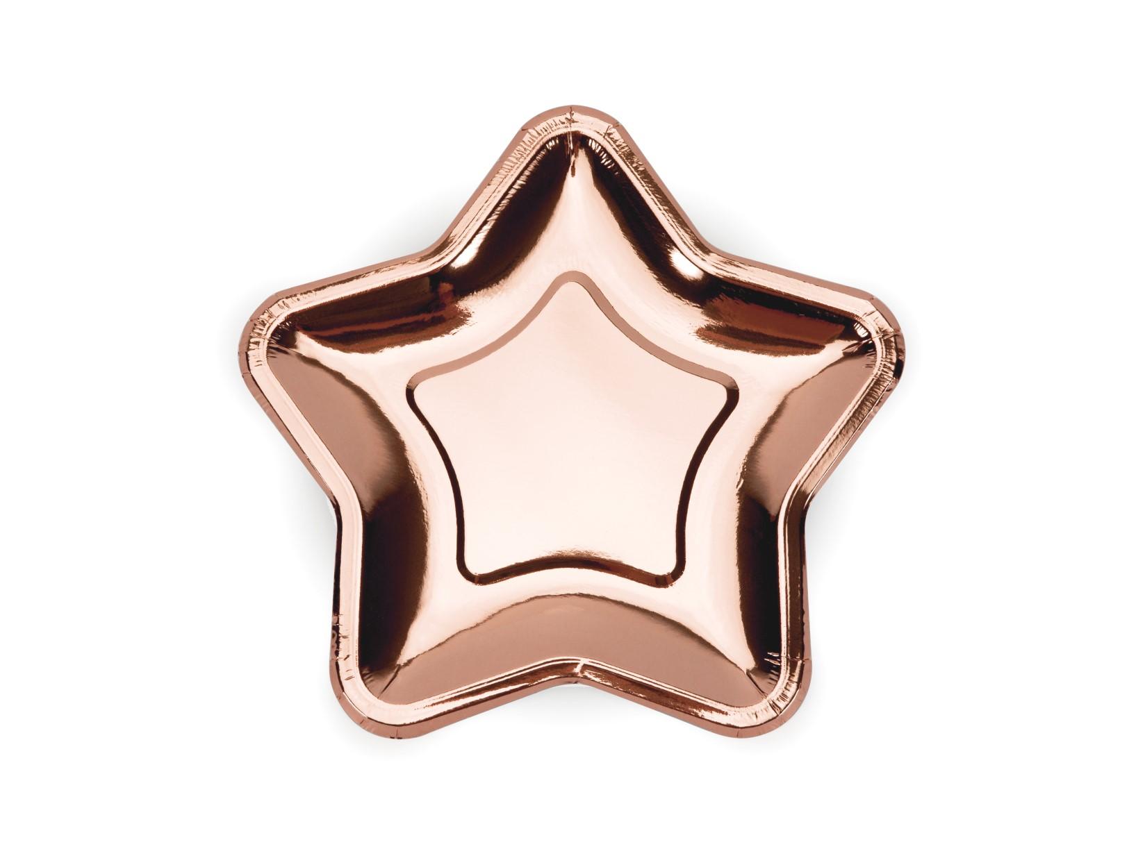 Χάρτινα Πιάτα Αστέρι Ροζ Χρυσό 18εκ – 6 Τεμάχια