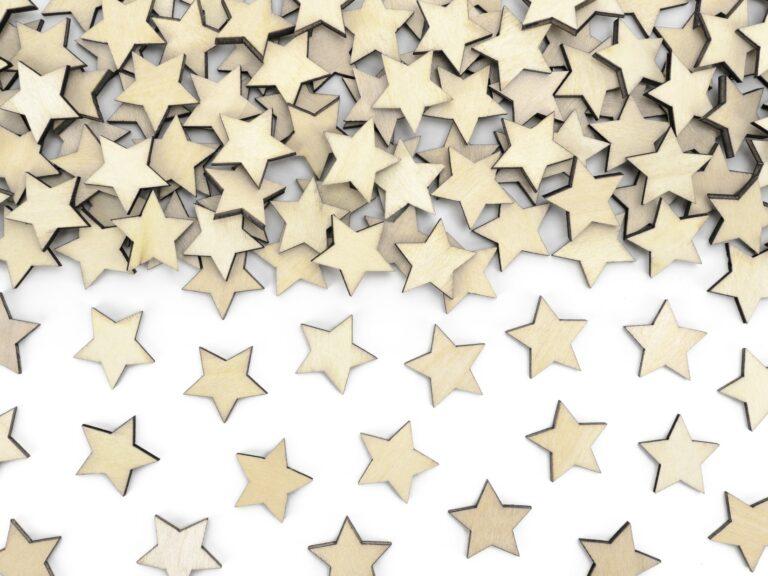 Κονφετί Ξύλινα Αστεράκια – 50 Τεμάχια