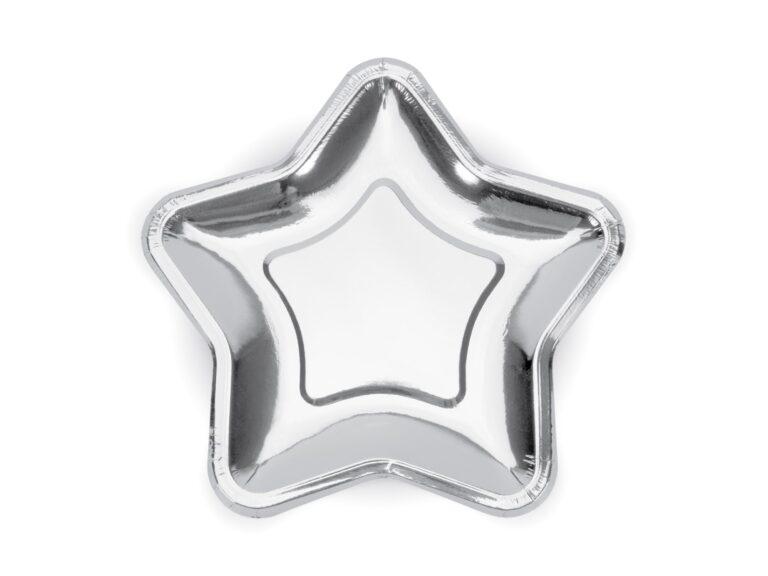 Χάρτινα Πιάτα Αστέρι Ασημί 18εκ – 6 Τεμάχια