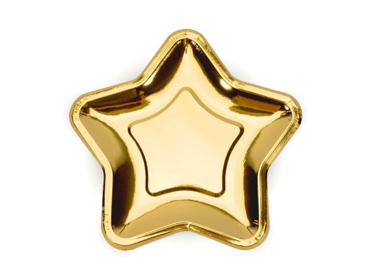 Χάρτινα Πιάτα Αστέρι Χρυσό 18εκ – 6 Τεμάχια