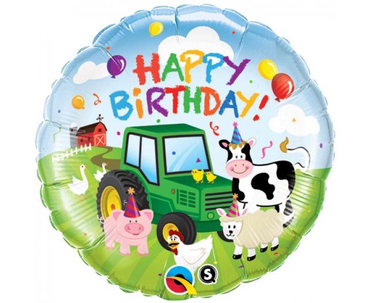 Μπαλόνι Foil Happy Birthday Ζωάκια Φάρμας