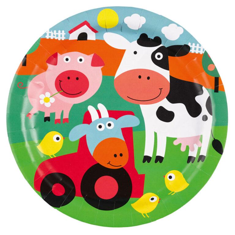 Χάρτινα Πιάτα Ζωάκια Φάρμας 23εκ – 8 Τεμάχια