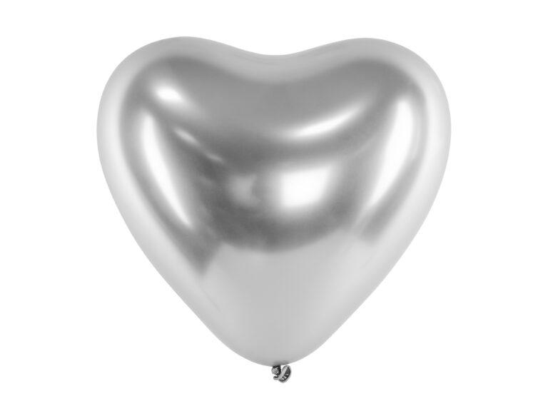 Μπαλόνια Latex Glossy Ασημί Καρδιές 30εκ – 50 Τεμάχια