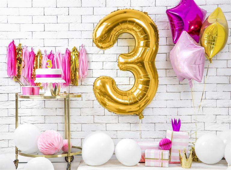 Μπαλόνι Foil Χρυσό Αριθμός Τρία 86εκ