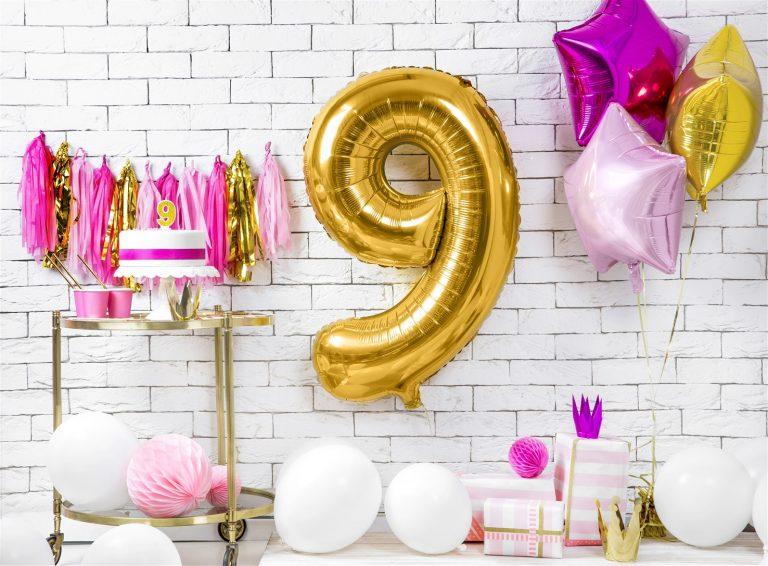 Μπαλόνι Foil Χρυσό Αριθμός Εννέα 86εκ