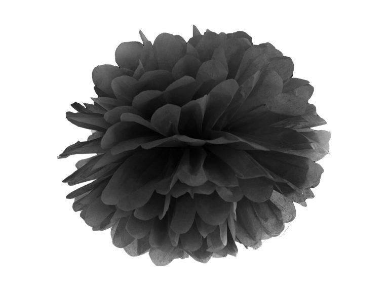 Χάρτινα Μαύρα Pom Pom 25εκ