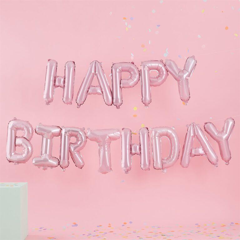 Σετ Μπαλόνια HAPPY BIRTHDAY Ροζ