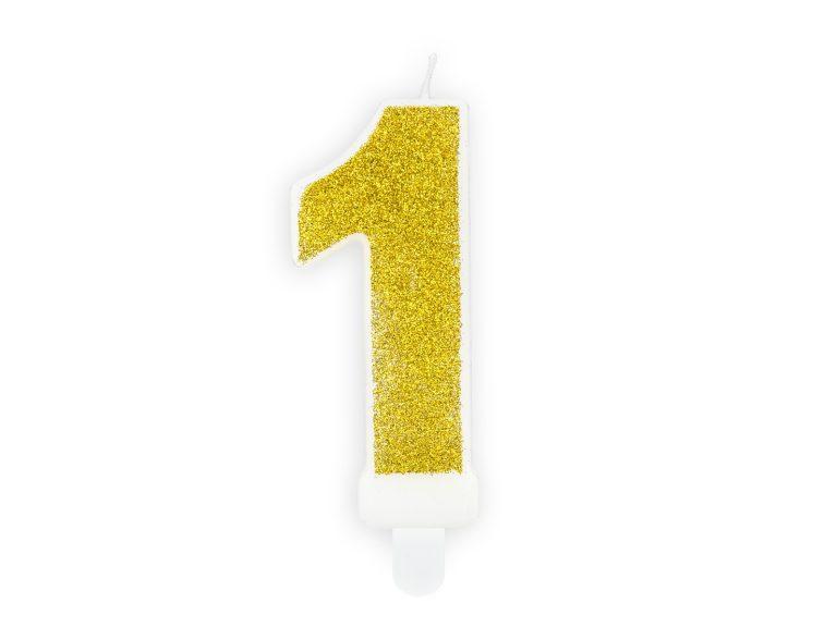 Κεράκι Αριθμός 1 Λευκό με Χρυσό Γκλίτερ