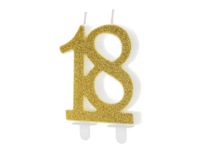 Κεράκι Αριθμός 18 Χρυσό με Γκλίτερ