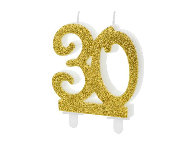 Κεράκι Αριθμός 30 Χρυσό με Γκλίτερ