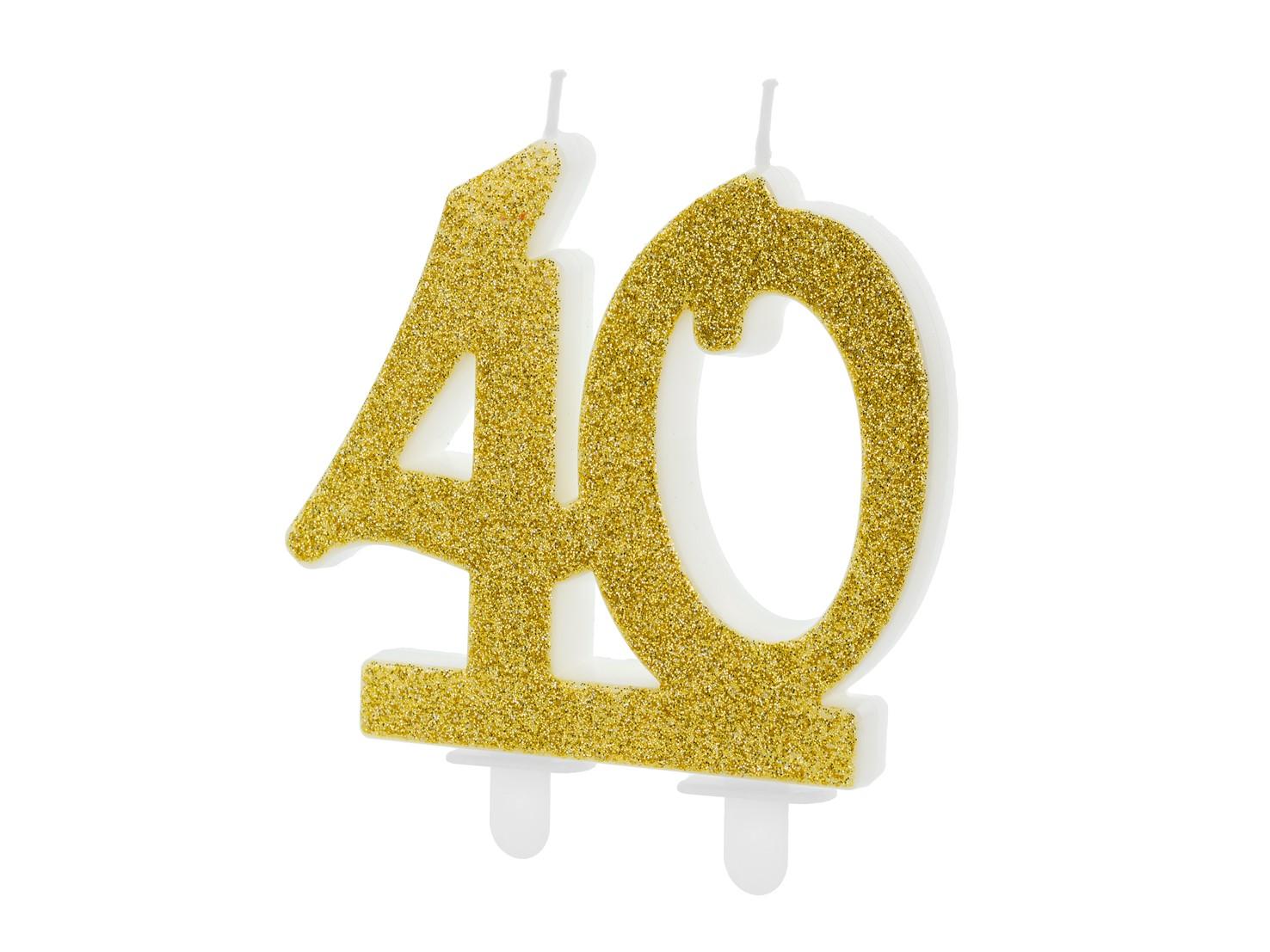 Κεράκι Αριθμός 40 Χρυσό με Γκλίτερ