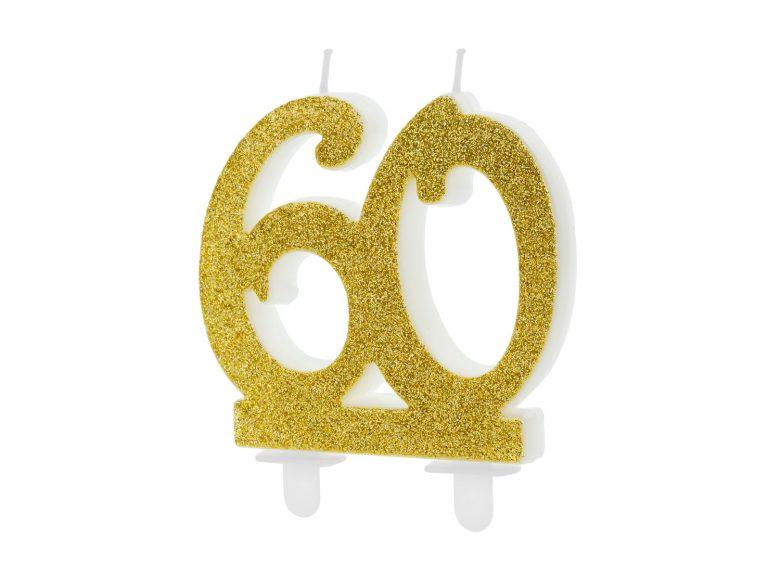 Κεράκι Αριθμός 60 Χρυσό με Γκλίτερ