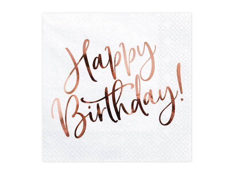 Χαρτοπετσέτες Happy Birthday Ροζ Χρυσό 33×33εκ – 20 Τεμάχια
