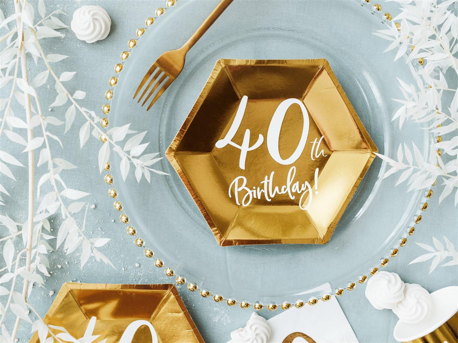 Χάρτινα Πιάτα 40th Birthday 20εκ – 6 Τεμάχια