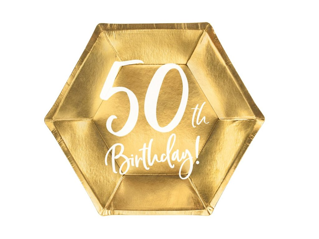 Χάρτινα Πιάτα 50th Birthday 20εκ – 6 Τεμάχια