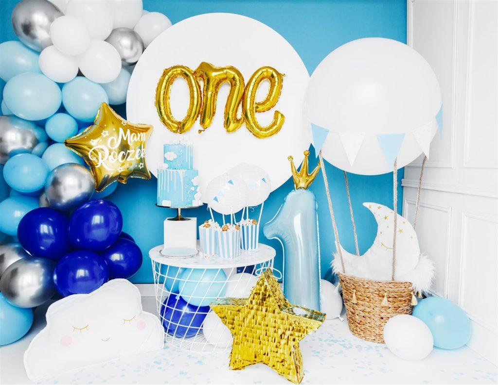 Μπαλόνι Foil Γαλάζιο Αριθμός Ένα με Χρυσή Κορώνα – 90εκ.