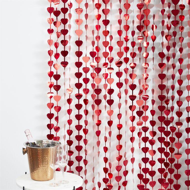 Διακοσμητική Κουρτίνα Κόκκινες Καρδιές 100×220εκ.