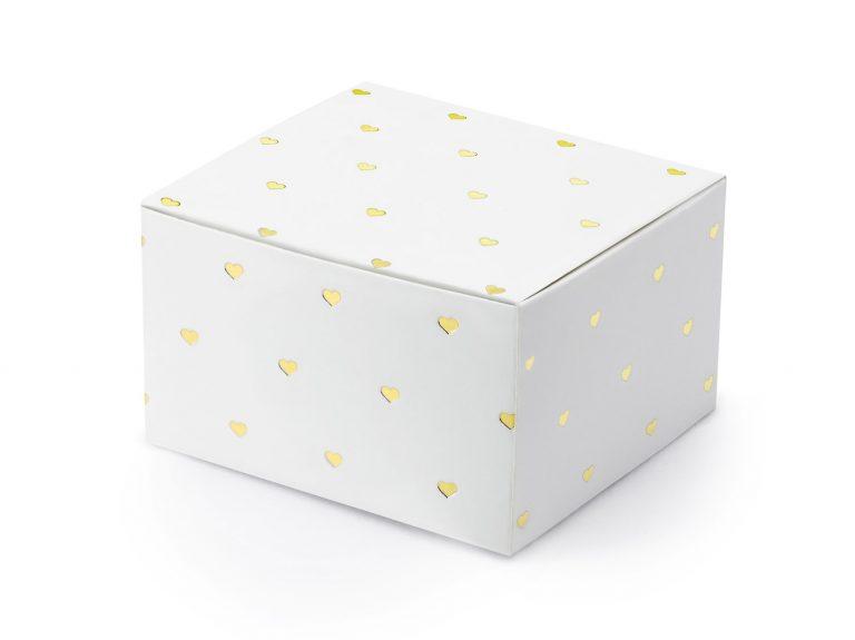 Χάρτινα Κουτάκια Λευκά με Χρυσές Καρδούλες – 10 Τεμάχια