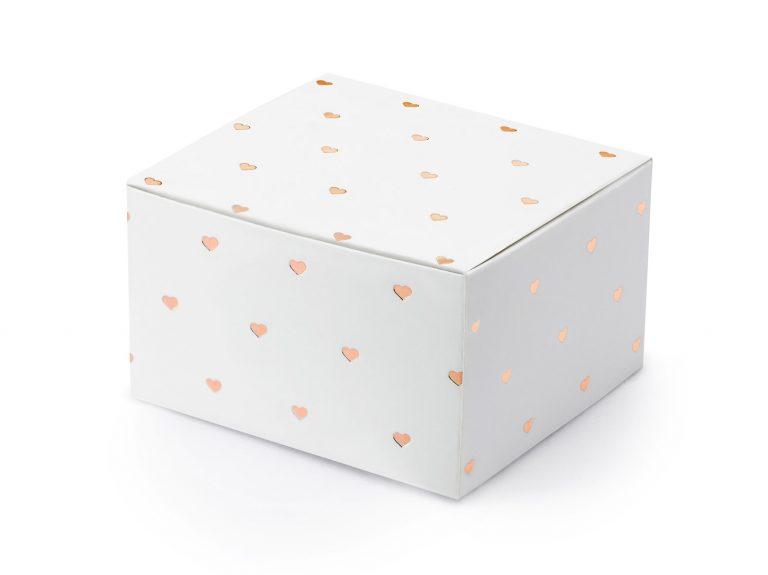 Χάρτινα Κουτάκια Λευκά με Ροζ Χρυσές Καρδούλες – 10 Τεμάχια