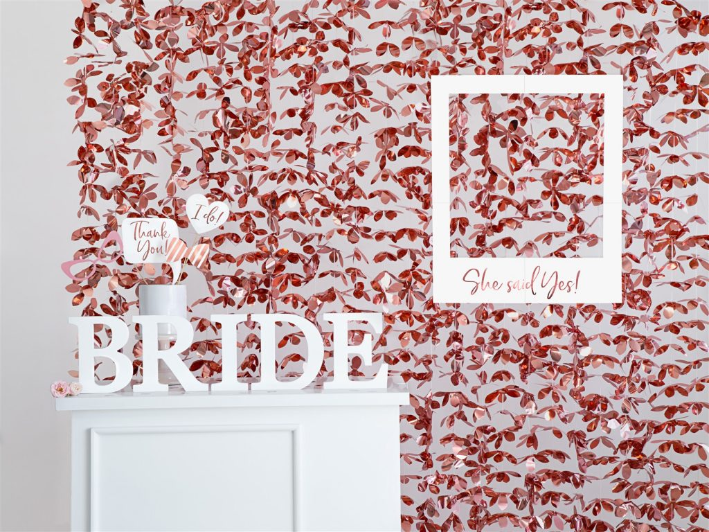 Διακοσμητική Κουρτίνα με Ροζ Χρυσά Λουλούδια Foil 100×210εκ