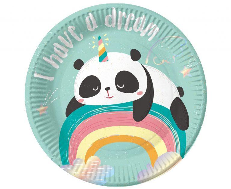 Χάρτινα Πιάτα Dreamy Panda 18εκ – 6 Τεμάχια